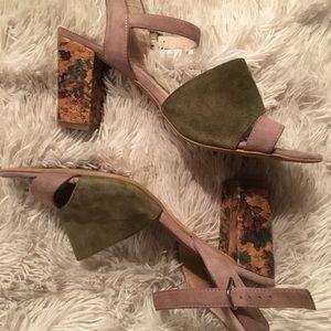 KMB suede & cork heeled sandals